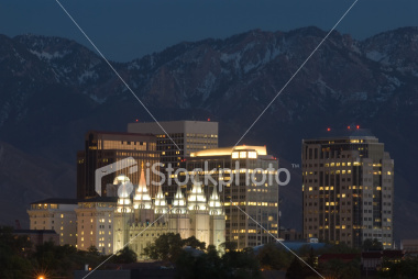 Salt Lake City Skyline at Night Stock Image